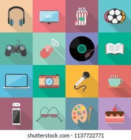 Set of entertainment flat icons design, Element for website,application and content.With long shadow on square background. 16 icons.