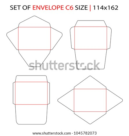 Set Of Envelope C6 Size Commercial Flap Side Seam Baronial Die Cut Template For