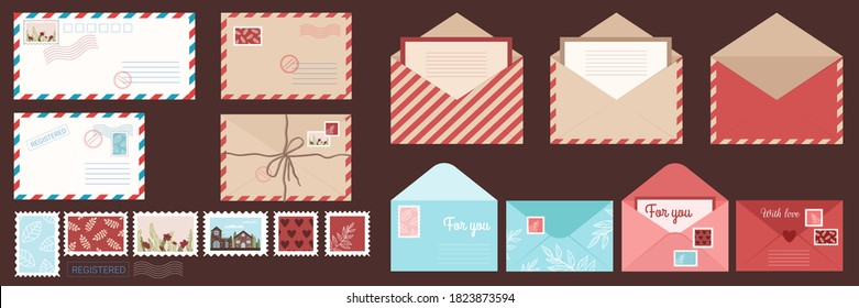 Set envelope and post card. Envelope letter. Isolated card with stamps and seals in flat style. Vector stock illustration.