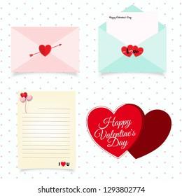 Set of envelopes symbol for valentine's day