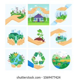 Set of environment protection, use alternative energy, careful attitude to nature. Clean city, preservation ecology. Hand holds handful earth with growing plant, keeping alive. Vector illustration.
