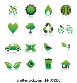 Set of environmental green icons Vector Illustration.