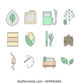 Set of environmental icons. Auto and biofuel. Eco icons. Vector illustration. Alternative fuel.