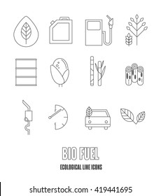Set of environmental icons. Auto and biofuel. Eco icons. Vector illustration. Alternative fuel. Corn, sugar cane and wood basic elements of which make the bio fuel