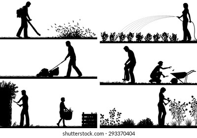 Set of eps8 editable vector silhouette foregrounds of people gardening with all figures as separate objects