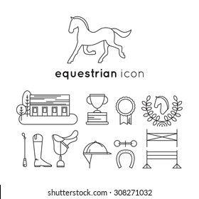 Set of equestrian lineart icons