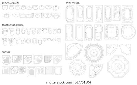 A set of equipment for the bathroom. Toilet bowl, urinal, sink, bath, jacuzzi, shower on a white background. Top view. Vector unshaded drawing.