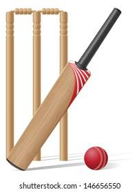 set equipment for cricket vector illustration isolated on white background