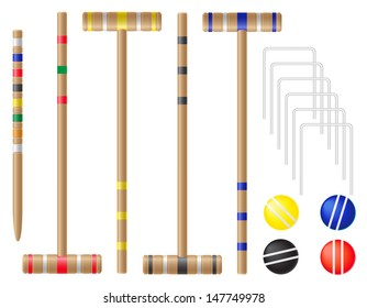 set equipment for croquet vector illustration isolated on white background