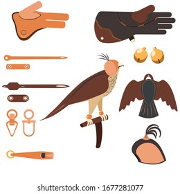 Set of Equipment for falconry and training birds of prey: Falconry Perch, jess, gauntlet, anklets, bait, hood.