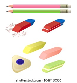 Set of erasers of different color and shape, two pencils