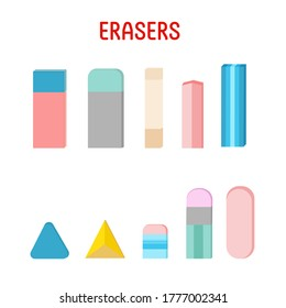 Set of erasers of different color and shape. Flat vector illustration on white background.