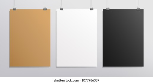 Set of ertical whte and black poster - Mockup template for presentation your design. Realistic vector mockup blank poster, banner or cover