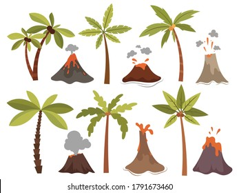 Set of erupting volcanoes. Collection of different volcanic eruption with hot lava and palm on the island. Color illustration of cartoon natural disaster.