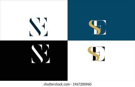Set Of ES ,SE Abstract Letters Logo Monogram