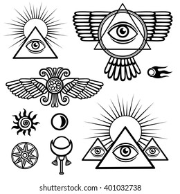 Set of esoteric symbols: wings, pyramid, eye, moon, sun, comet, star. The isolated black contour on a white background.