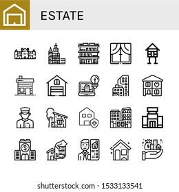 Set of estate icons. Such as Garage, Palace, Skyscraper, Building, Window, Wooden house, Hut, Architecture, Condominium, Home, Doorman, Cottage, Clean house, Shopping mall , estate icons