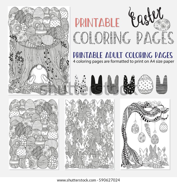 Set Ester Coloring Book Pages Adult Stock Vector (Royalty Free ...