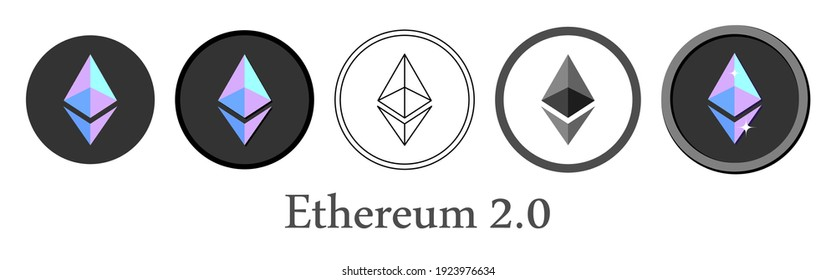Set of Ethereum 2.0 crypto currency icons. Vector illustration.