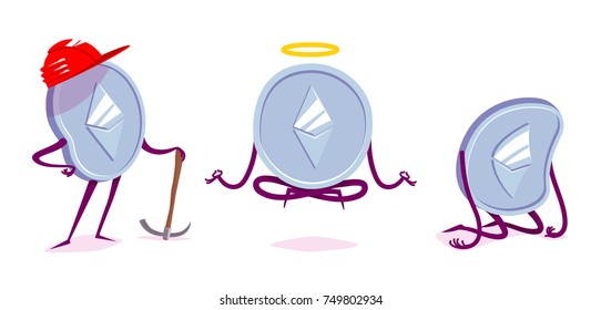 Set of ethereum character in the different situations. Vector cartoon illustration.