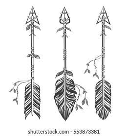 Set Ethnic arrows with feathers. Boho style. Hand drawn vector illustration