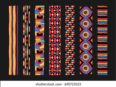 Set of ethnic art brushes in African style.