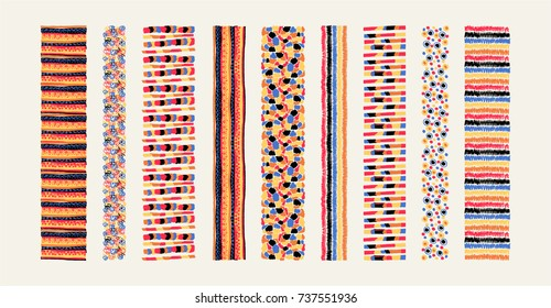 Set of ethnic art brushes in African style.  The Aztec pattern. Oriental lace tape. Indian jewel. Embroidery on fabric. Tribal art. The decoration of clothes. Ribbon, border. Beadwork with ornament.