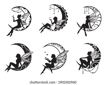 Set of ethnic crescents with fairies. Collection of moon with mandala. Design for painting with henna. Vector illustration of a cosmic body with fairy-tale characters.