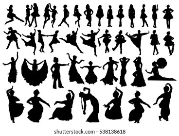 Set of ethnic dancers silhouettes
