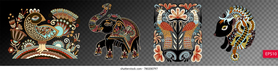 set of ethnic decorative animals and birds in ukrainian traditional folk style, isolated vector illustration collection