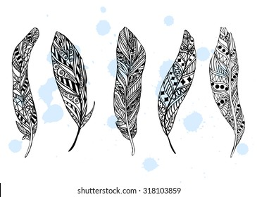 Set of ethnic feathers. Tribal feathers sketch illustration