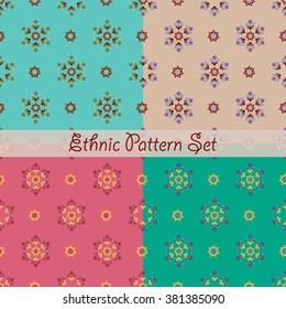 Set of ethnic floral patterns. Seamless ornament. Vector illustration.