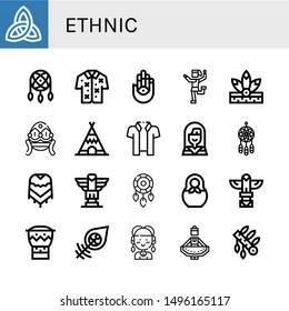 Set of ethnic icons such as Paganism, Dreamcatcher, Hawaiian, Hamsa, Traditional dance, Native american, Faberge, Teepee, Poncho, Totem, Matryoshka, Bongo, Hippie, Regional dance , ethnic