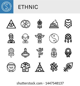 Set of ethnic icons such as Yin yang, Freemasonry, Dreamcatcher, Machu picchu, Poncho, Native american, Hippie, Totem, Ying yang, Regional dance, Traditional dance, Matryoshka doll , ethnic