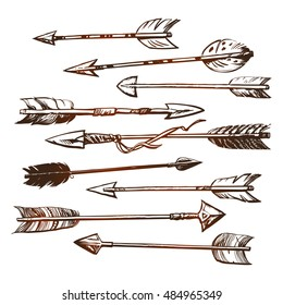 Set of ethnic indian arrow hand drawn in boho style.Sketch. Isolated on white background.