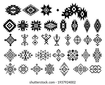 Set of ethnic motif. Collection of geometric ethnic elements. Ethnic ornaments. Aztec signs. Vector illustration in boho style on a white background.