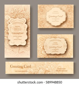 Set of ethnic ornament banners and flyer concept. Vintage art traditional, Islam, arabic, indian, ottoman motifs, elements. Vector decorative retro greeting card or invitation design illustration.