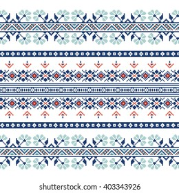 Set of Ethnic ornament pattern in blue colors. Vector illustration. From collection of Balto-Slavic ornaments
