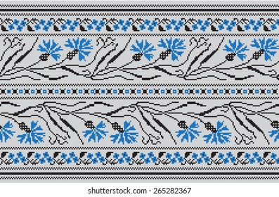 Set of Ethnic ornament pattern in different colors. Vector illustration. From collection of Baltic-Slavic ornaments