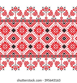 Set of Ethnic ornament pattern in red, black and white colors. Vector illustration. From collection of Balto-Slavic ornaments