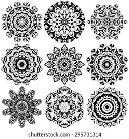 Set of ethnic ornamental floral pattern. Hand drawn mandalas. Orient traditional background. Lace circular ornaments.  Ethnic, Indian, Islamic, Asian, ottoman, Arabic  motifs. Vector illustration.