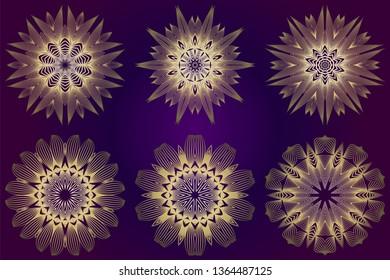 Set of Ethnic Ornamental Mandala. Decorative Design Element. Vector Illustration. Purple gold color.