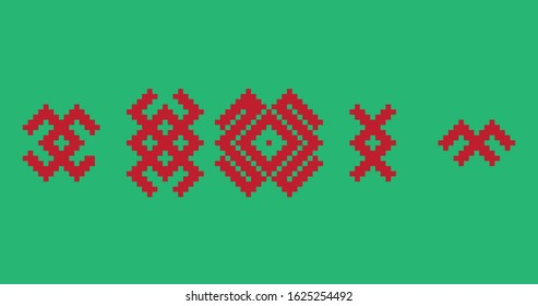 Set of ethnic red and green baltic symbols of animals. Baltic ethnic geometric pattern.