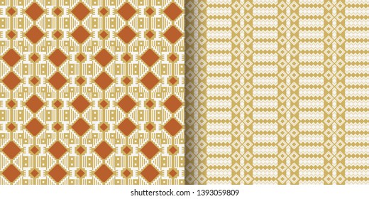 Set of Ethnic seamless pattern. Kente cloth. African textile. Tribal geometric print.