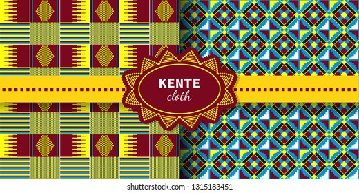 Set of ethnic seamless patterns.  African Kente cloth. Tribal geometric print.