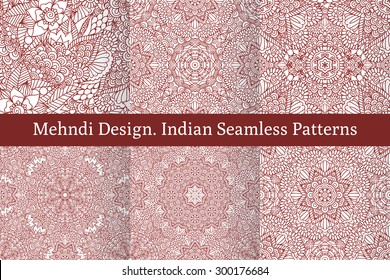 Set of ethnic seamless patterns in oriental indian style. Mehndi henna design for textile, cards, background, wrapping paper, packing. Vector illustration
