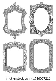 Set of ethnic template frames  for design wedding invitations and greeting cards. Henna flowers mehndi elements of vintage patterns. Indian or Asian motif. Vector illustration.