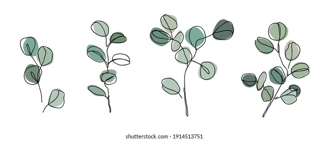 Set of Eucalyptus branches in modern single line art style. Continuous line drawing, aesthetic contour for home decor, posters, wall art, cards, packaging. Floral logo or icon vector illustration.