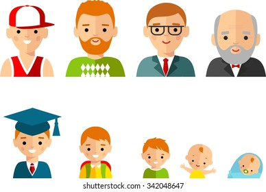 Set of european age group avatars man in colorful style. All age group of european man. Generations man.  Stages of development people - infancy, childhood, youth, maturity, old age.