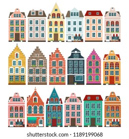 Set of european colorful old houses vector illustration